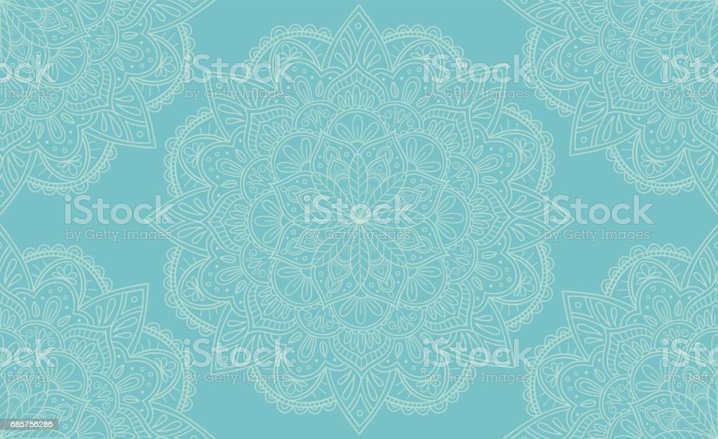 Elegant light blue mandala seamless pattern design. Perfect for backgrounds and wallpaper designs. Vector illustration. vector art illustration