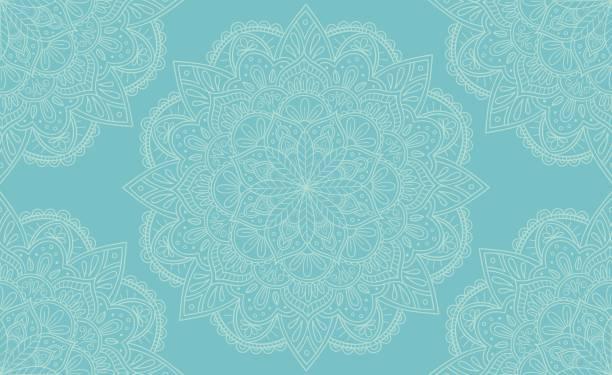 stockillustraties, clipart, cartoons en iconen met elegante lichte blauwe mandala naadloze patroon ontwerp. perfect voor achtergronden en behang ontwerpen. vectorillustratie. - boho