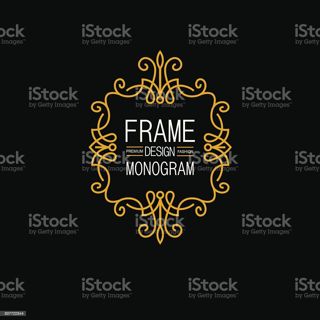 Elegant Line Art Frame, Logo and Monogram Design, vector template. vector art illustration