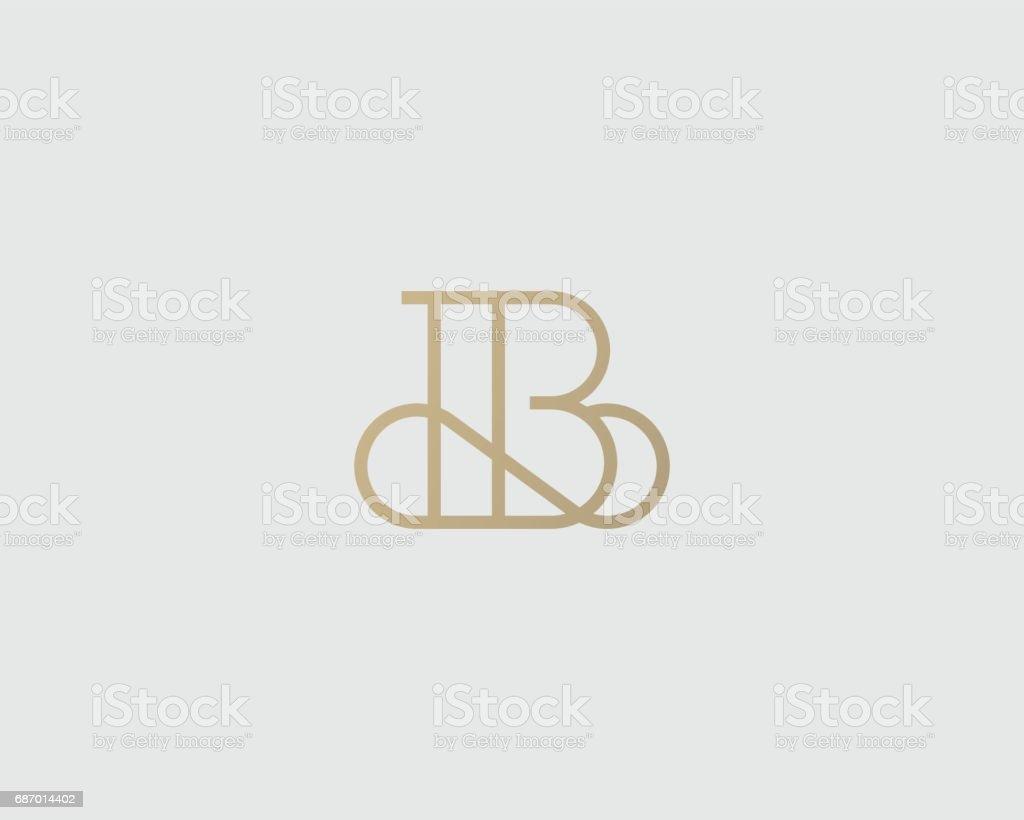 Zarif satırı eğrisi vektör simgesi. Prim B harfi simgesi tasarım. Lüks doğrusal yaratıcı monogram. vektör sanat illüstrasyonu