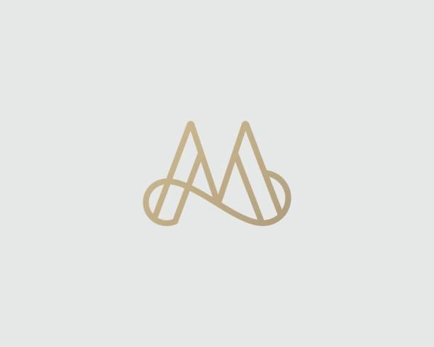 Elegant line curve vector icon. Premium letter M icon design. Luxury linear creative monogram. vector art illustration