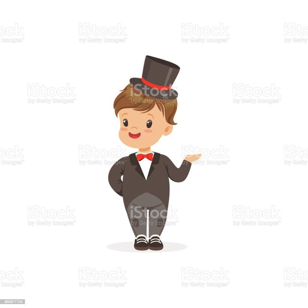 Ilustración de Niño Elegante Llevar Smoking Y Sombrero De Copa Negro ... e341f68f3c9