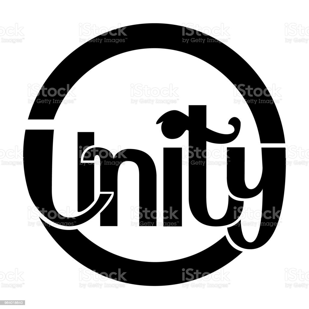 Elegant logotype branding design - the word Unity in black and white - Royalty-free Art stock vector