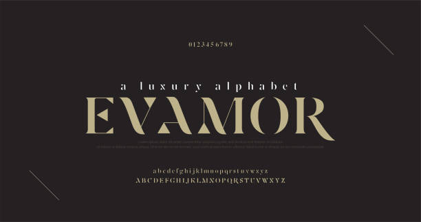 Elegant luxury alphabet letters font and number. Classic Lettering Minimal Fashion Designs. Typography fonts regular uppercase and lowercase. vector illustration Elegant luxury alphabet letters font and number. Classic Lettering Minimal Fashion Designs. Typography fonts regular uppercase and lowercase. vector illustration luxury stock illustrations