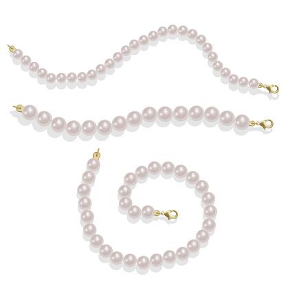 Elegant luxury decoration feminine with pearl bead illustration Pearl glamour borders