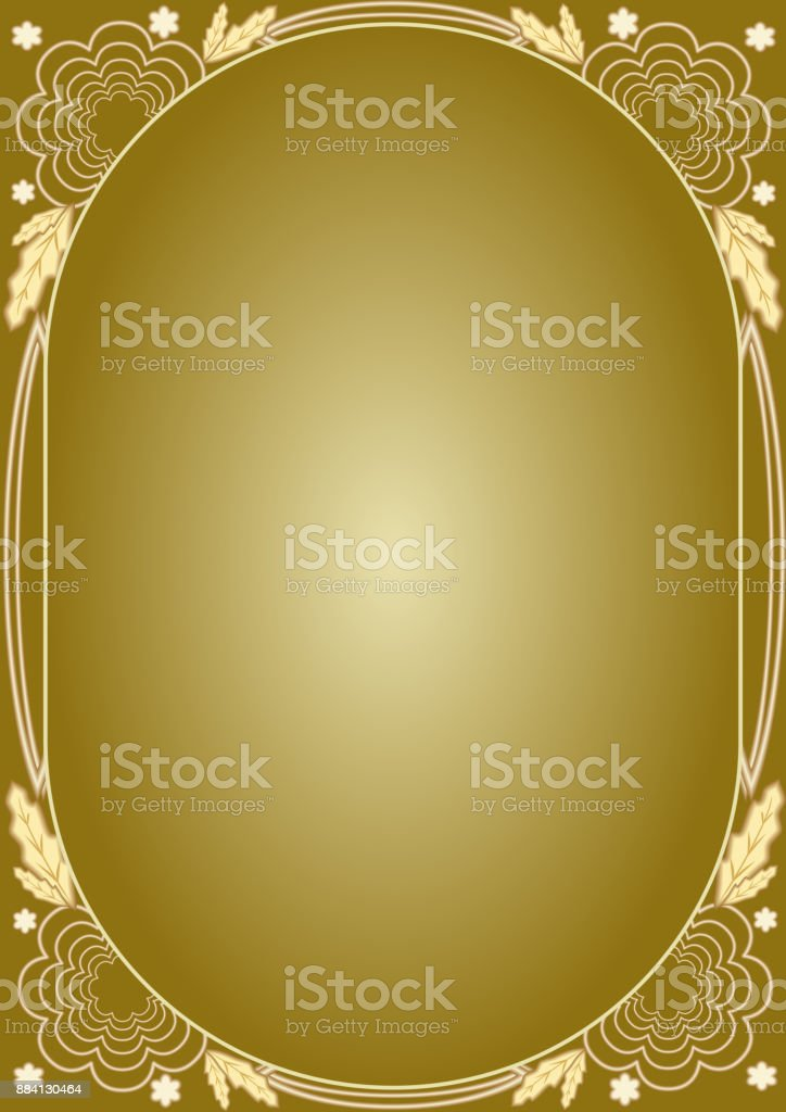 Elegant luxury golden floral patterns. Frame in art deco style. Luxurious unusual document design for certificate, diploma, voucher, flyer, leaflet or christmas holiday vector art illustration