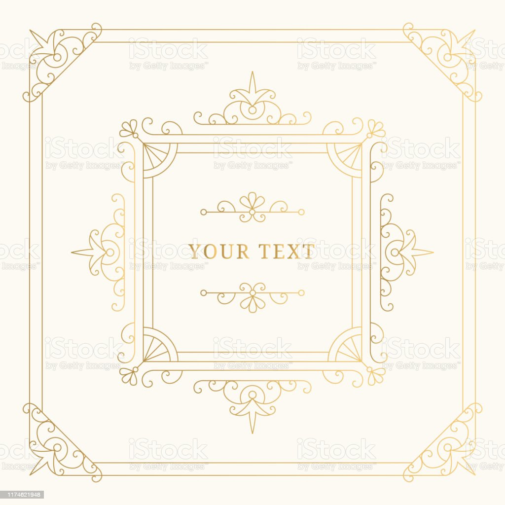 Elegant luxury golden frame with flourishes borders and vector design...