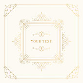 Elegant luxury golden frame with flourishes borders and vector design elements. Isolated gold foil illustration.