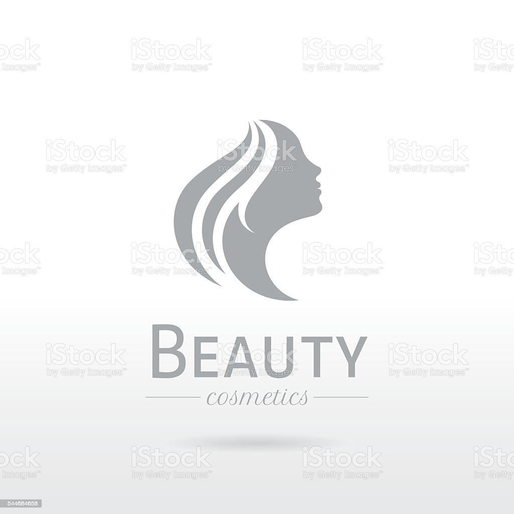 Elegant luxury logo. Beautiful young woman face with long hair vector art illustration
