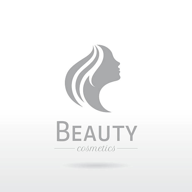 elegant luxury logo. beautiful young woman face with long hair - beauty stock illustrations, clip art, cartoons, & icons