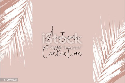 Elegant luxury nude rose pink blush and gold glitter brush stroke  background. Chic trendy print with botanical motifs
