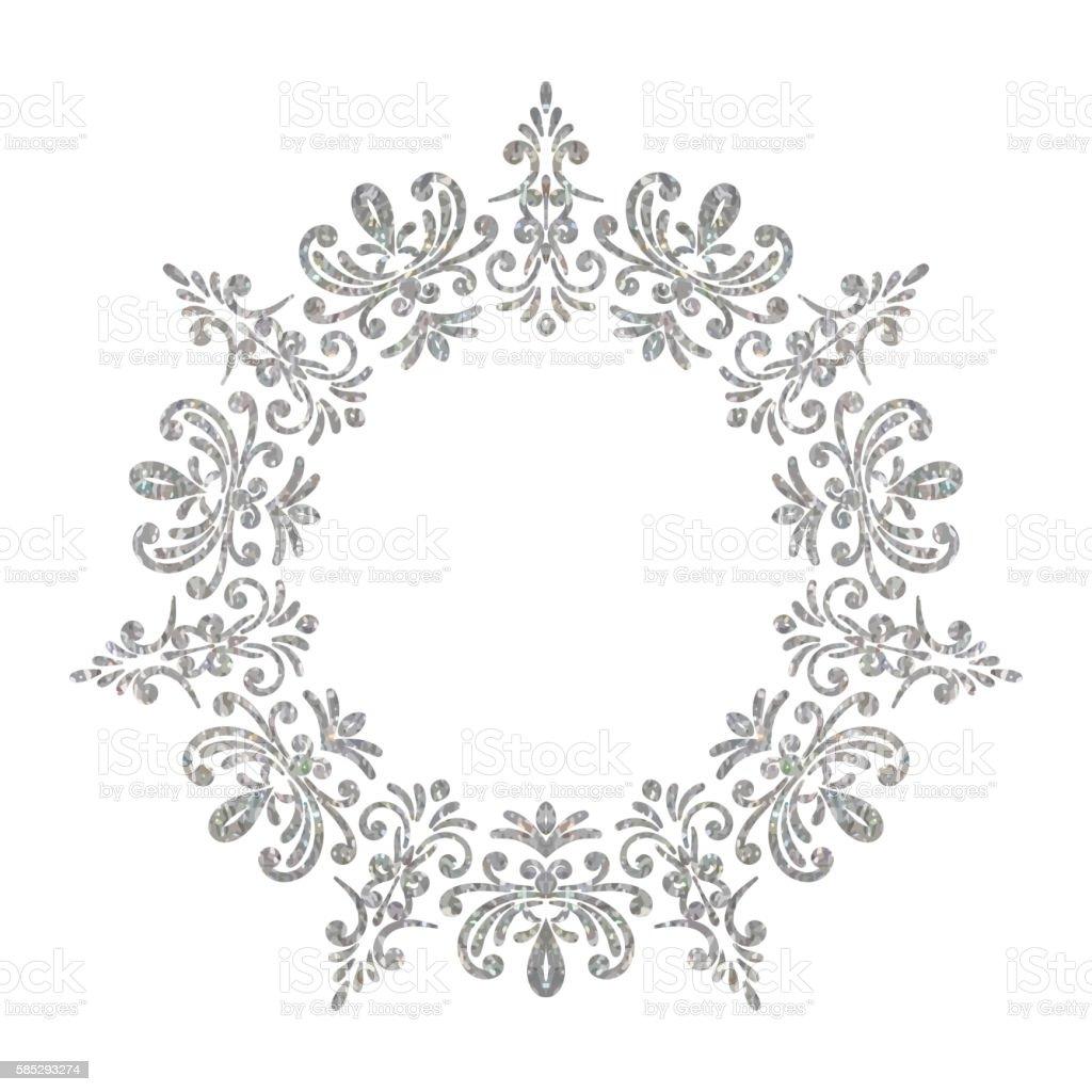 elegant luxury vintage circle silver floral frame まぶしいの