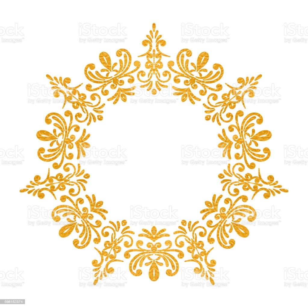 elegant luxury vintage round gold floral frame stock