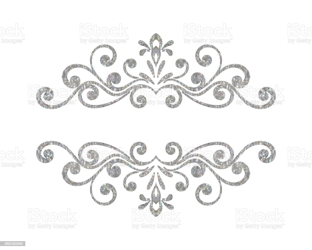 Elegant Luxury Vintage Silver Floral Border Royalty Free Stock