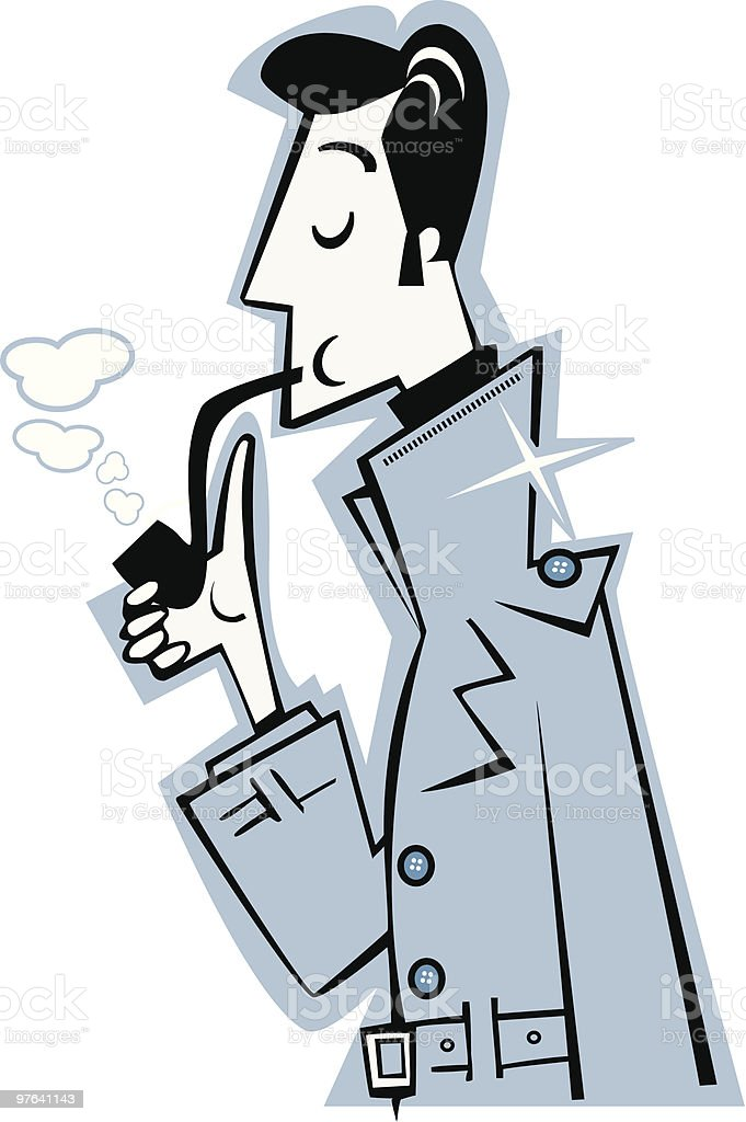 Elegante Hombre En Un Gabardina Y Tuberías Para Fumadores Detective ...