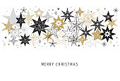 Elegant Merry Christmas background, banner and greeting card template, collection of snowflakes, stars, Xmas decorations, hand drawn illustration
