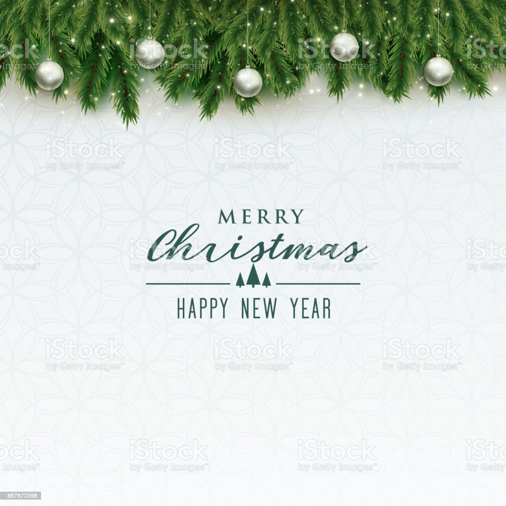 elegant merry christmas background with silver balls royalty free elegant merry christmas background with silver - Merry Christmas Background