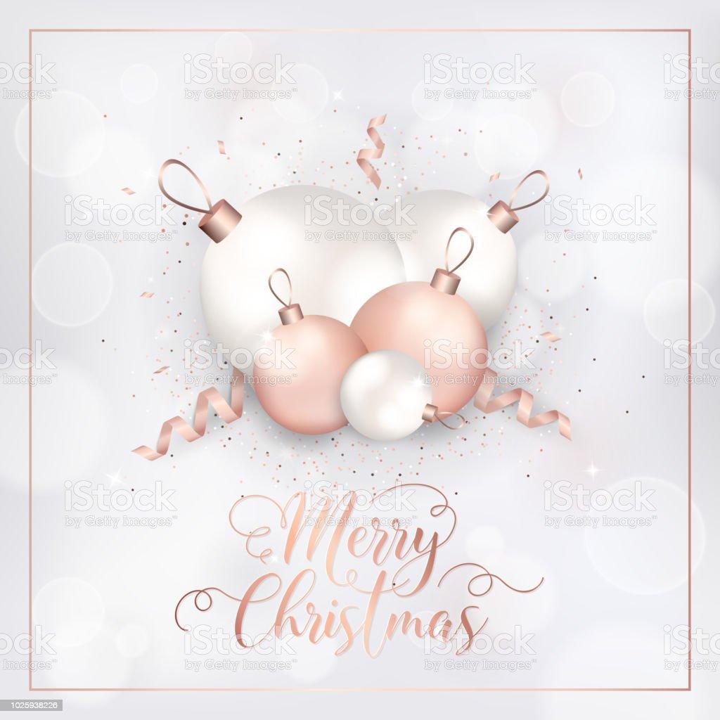 Christbaumkugeln Rosegold.Elegante Frohliche Weihnachtskarte Mit Rotgold