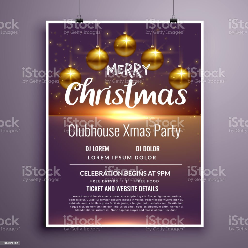 Elegant Merry Christmas Party Flyer Invitation Template Design Stock