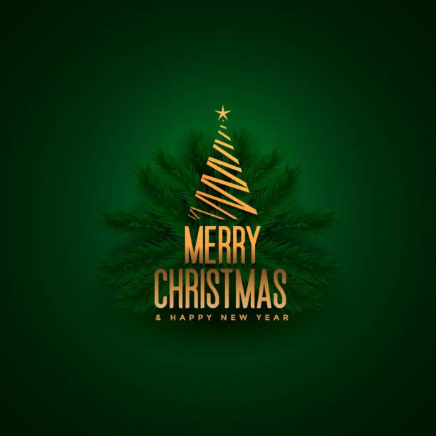 elegante fröhliche Weihnachtsbaum und Blätter grünen Hintergrund – Vektorgrafik