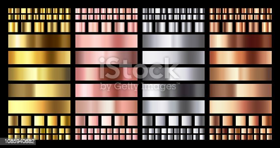 Elegant metallic gradient. Shiny rose gold, silver and bronze medals gradients. Golden, pink copper and chrome metal. Polished chrome metallic platinum steel gradient vector collection