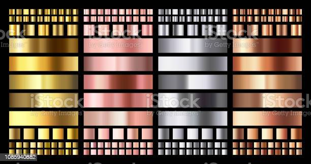 Elegant Metallic Gradient Shiny Rose Gold Silver And Bronze Medals Gradients Golden Pink Copper And Chrome Metal Vector Collection - Stockowe grafiki wektorowe i więcej obrazów Abstrakcja