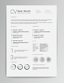 Elegant minimalistic modern vector resume or CV template designed on A4 page, easy to edit.