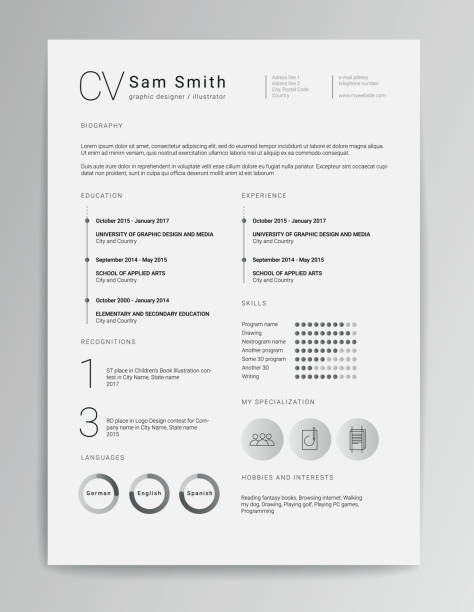 elegant minimalistic modern vector resume or cv template designed on a4 page, easy to edit - resume templates stock illustrations