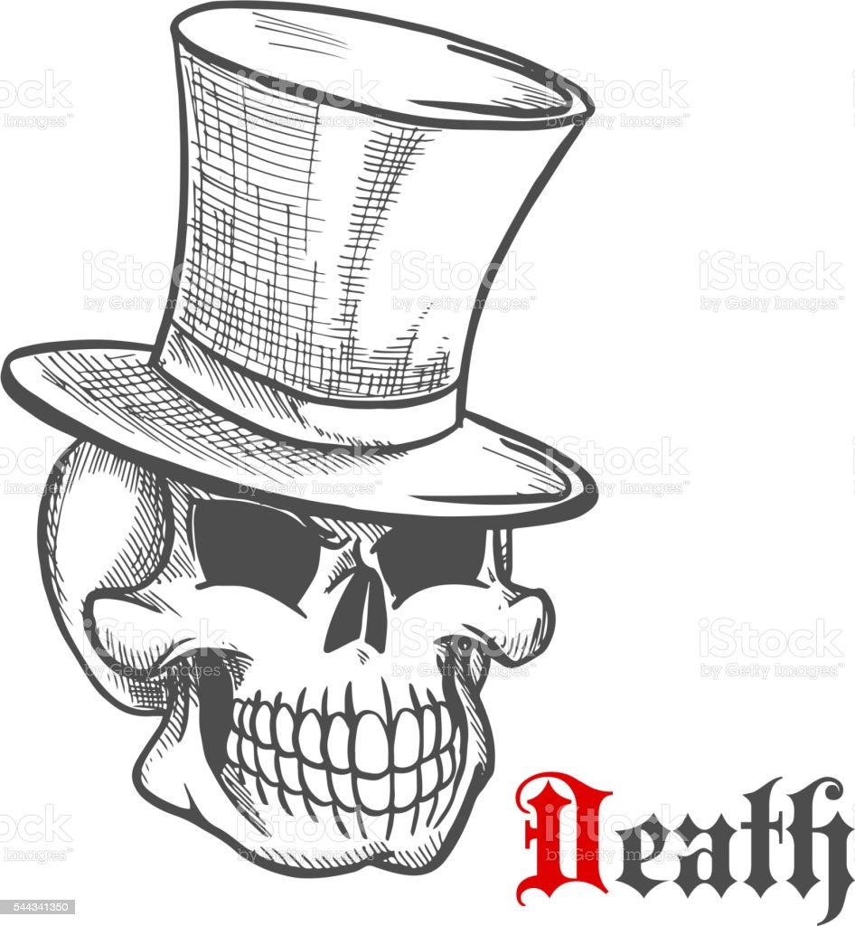 Elegante Senhor Crânio Em Top Vintage Chapéu Desenho Arte