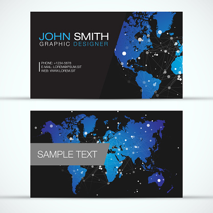 Elegant Modern Business Card Set - Blue World Map with White Abstract Polygon Mesh on Black Background -  EPS10 Vector Design