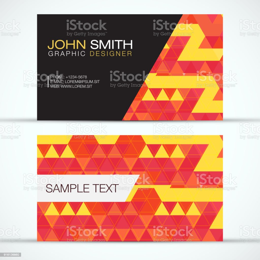 Elegant modern business card set orange and yellow triangles pattern business card plan document text germany abstract reheart Images