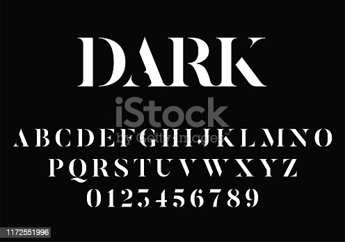 Elegant modern stencil font with serifs. Vector alphabet and numbers