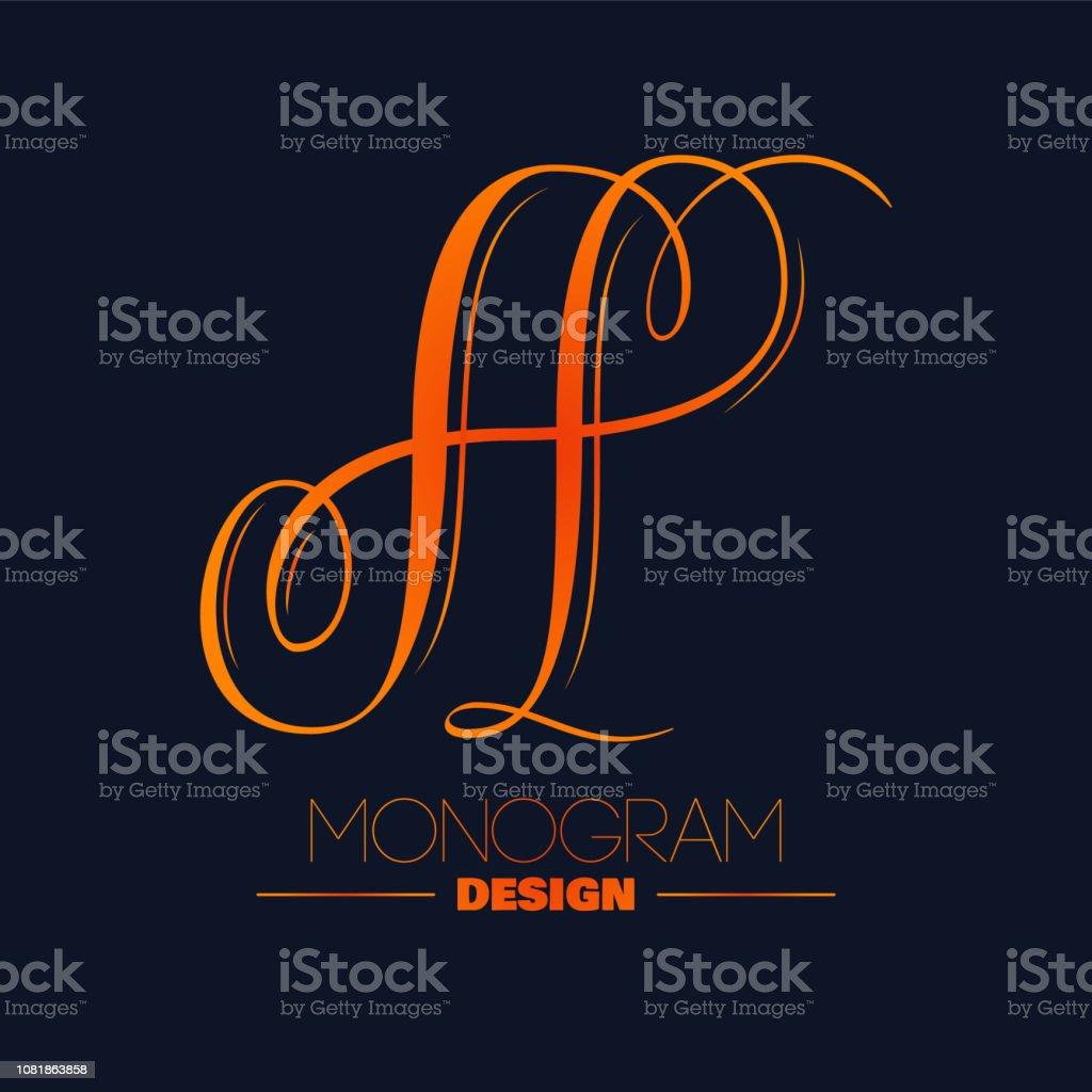 Elegant monogram design - letter A vector art illustration