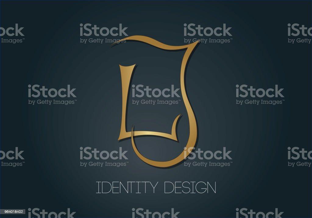 Elegant monogram logo for brand design. Golden letters L and J on dark background - Royalty-free Art stock vector