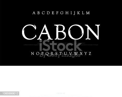 istock Elegant movie alphabet font. Typography classic style silver font set for logo, Poster, Invitation. vector illustrator 1065699012