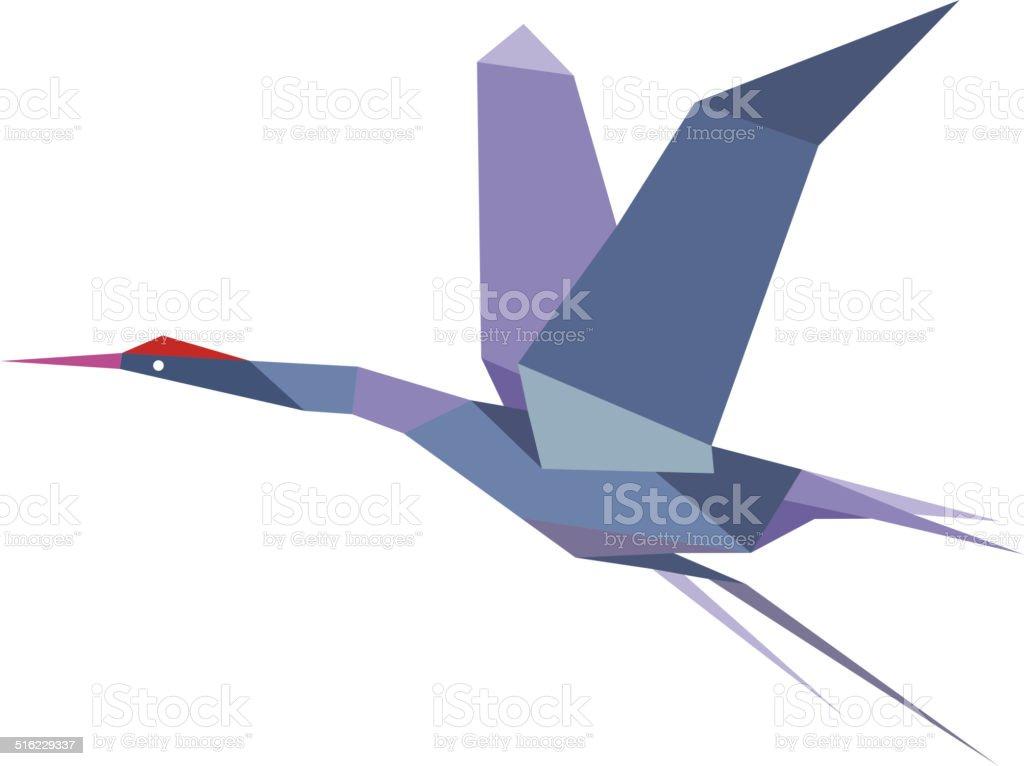 Elegante o Airone vola Gru origami - illustrazione arte vettoriale