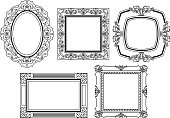 Different kinds of elegant ornate frames in line art style. It contains hi-res JPG, PDF and Illustrator 9 files.