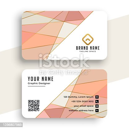 elegant pastel color low poly business card design