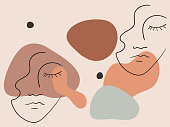 Elegant pastel illustration with linear shapes of a female face. Vector