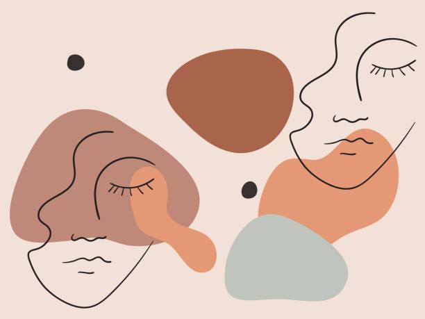bildbanksillustrationer, clip art samt tecknat material och ikoner med elegant pastell illustration med linjära former av ett kvinnligt ansikte. vektor - illustrationer med many faces