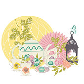 Elegant pastel vintage garden tea party illustration with tea utensils and party decorations. Ideal for framing, placement print on apparel, scrap booking, invitations, cards, web.