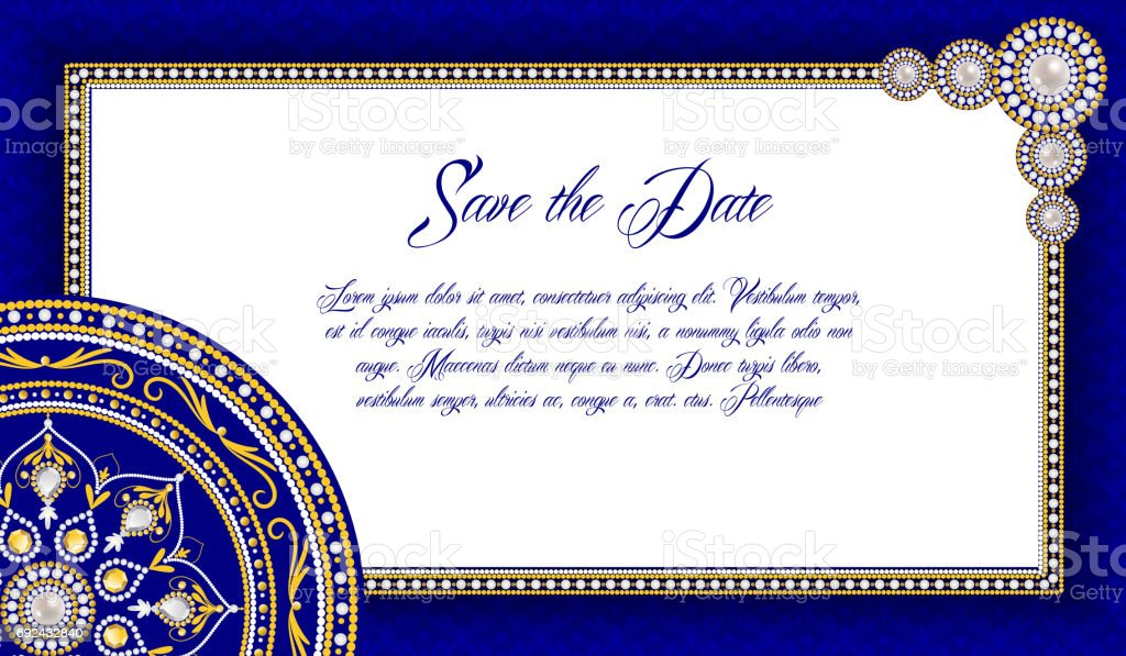 elegant pearl frame vintage greeting card wedding invitation