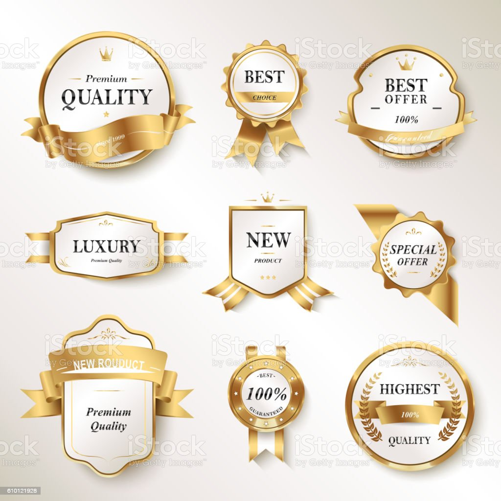 Elegant pearl white labels set vector art illustration