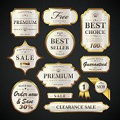 Elegant pearl white labels set, glossy labels with golden frame over black background