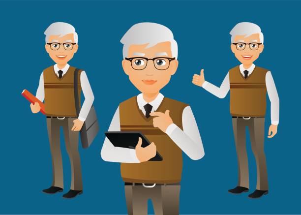 elegant people-businessman - old man glasses cartoon stock illustrations, clip art, cartoons, & icons