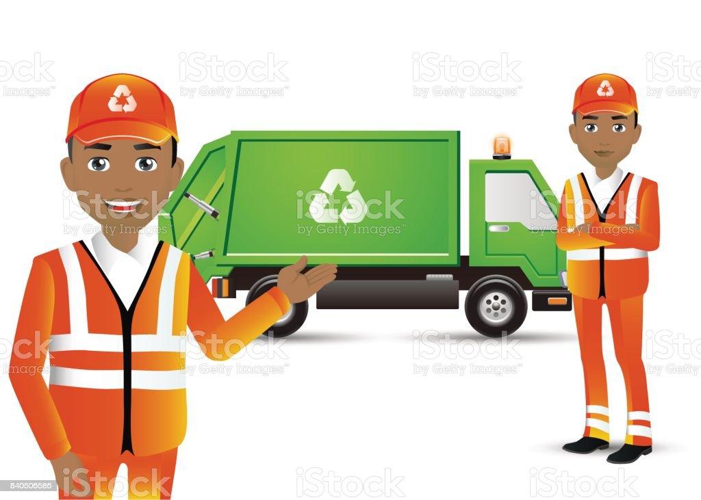 Elegant People-Professional.Street Cleaner vector art illustration