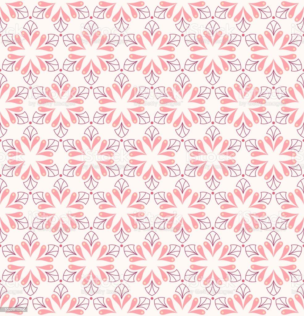エレガントなピンクのダマスク花ベクターのシームレスなパターン装飾花の