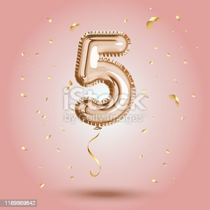 Elegant Pink Greeting celebration five years birthday Anniversary number 5 foil gold balloon. Happy birthday, congratulations poster.   Golden numbers with sparkling golden confetti. Vector