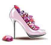 Elegant pink, high heel shoe with diamonds, jewelry. Shoes, symbol for wedding and engagement. Vector eps10.