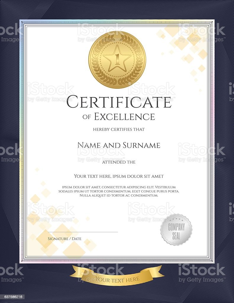 Elegant portrait certificate template for excellence achievement elegant portrait certificate template for excellence achievement on blue border royalty free stock vector xflitez Images